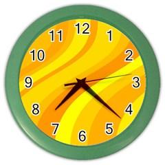 Orange Yellow Background Color Wall Clocks by Amaryn4rt