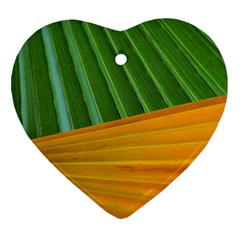 Pattern Colorful Palm Leaves Heart Ornament (Two Sides) by Amaryn4rt
