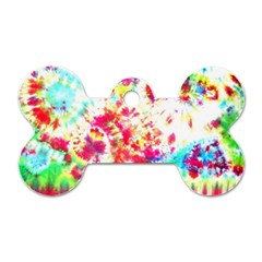 Pattern Decorated Schoolbus Tie Dye Dog Tag Bone (two Sides)