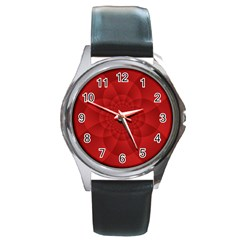 Psychedelic Art Red  Hi Tech Round Metal Watch by Amaryn4rt