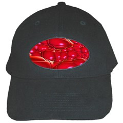 Red Abstract Cherry Balls Pattern Black Cap by Amaryn4rt