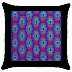 Red Blue Bee Hive Throw Pillow Case (black)