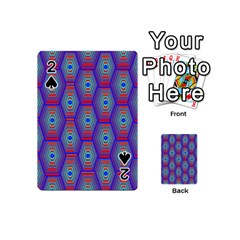 Red Blue Bee Hive Playing Cards 54 (mini)  by Amaryn4rt