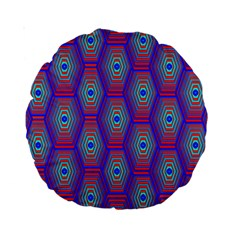 Red Blue Bee Hive Standard 15  Premium Round Cushions by Amaryn4rt