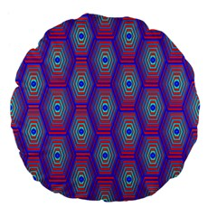 Red Blue Bee Hive Large 18  Premium Flano Round Cushions by Amaryn4rt