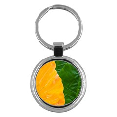 Wet Yellow And Green Leaves Abstract Pattern Key Chains (round)  by Amaryn4rt