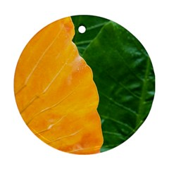 Wet Yellow And Green Leaves Abstract Pattern Round Ornament (two Sides) by Amaryn4rt