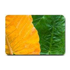 Wet Yellow And Green Leaves Abstract Pattern Small Doormat  by Amaryn4rt