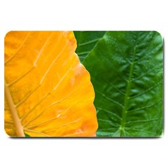 Wet Yellow And Green Leaves Abstract Pattern Large Doormat  by Amaryn4rt