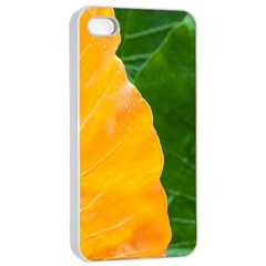 Wet Yellow And Green Leaves Abstract Pattern Apple Iphone 4/4s Seamless Case (white) by Amaryn4rt
