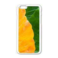 Wet Yellow And Green Leaves Abstract Pattern Apple Iphone 6/6s White Enamel Case by Amaryn4rt