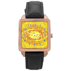 Yellow Seamless Psychedelic Pattern Rose Gold Leather Watch  by Amaryn4rt