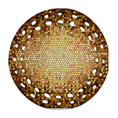 Yellow And Black Stained Glass Effect Round Filigree Ornament (two Sides) by Amaryn4rt