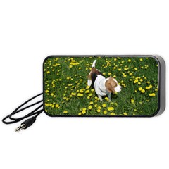 Beagle In Dandilions Portable Speaker (Black) by TailWags