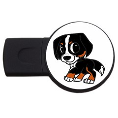 Bernese Mountain Dog Cartoon Rust USB Flash Drive Round (4 GB) by TailWags
