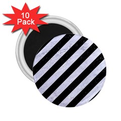 Stripes3 Black Marble & White Marble 2 25  Magnet (10 Pack) by trendistuff