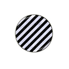 Stripes3 Black Marble & White Marble Hat Clip Ball Marker by trendistuff