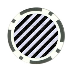 Stripes3 Black Marble & White Marble Poker Chip Card Guard by trendistuff