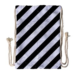 Stripes3 Black Marble & White Marble Drawstring Bag (large) by trendistuff