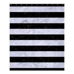 Stripes2 Black Marble & White Marble Shower Curtain 60  X 72  (medium) by trendistuff