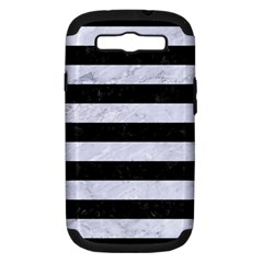 STR2 BK-WH MARBLE Samsung Galaxy S III Hardshell Case (PC+Silicone) by trendistuff