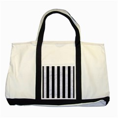 Stripes1 Black Marble & White Marble Two Tone Tote Bag by trendistuff