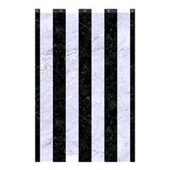 Stripes1 Black Marble & White Marble Shower Curtain 48  X 72  (small) by trendistuff