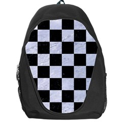 Square1 Black Marble & White Marble Backpack Bag by trendistuff