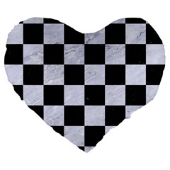 Square1 Black Marble & White Marble Large 19  Premium Flano Heart Shape Cushion by trendistuff