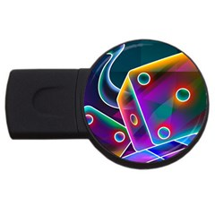 3d Cube Dice Neon USB Flash Drive Round (4 GB) by Onesevenart