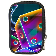 3d Cube Dice Neon Compact Camera Cases by Onesevenart
