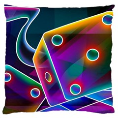 3d Cube Dice Neon Standard Flano Cushion Case (two Sides) by Onesevenart