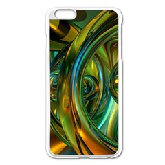 3d Transparent Glass Shapes Mixture Of Dark Yellow Green Glass Mixture Artistic Glassworks Apple Iphone 6 Plus/6s Plus Enamel White Case by Onesevenart