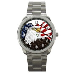 American Eagle Flag Sticker Symbol Of The Americans Sport Metal Watch by Onesevenart