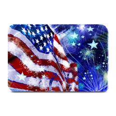American Flag Red White Blue Fireworks Stars Independence Day Plate Mats by Onesevenart
