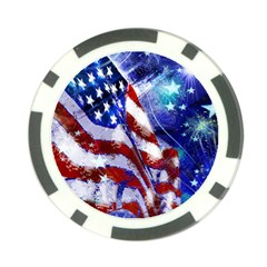 American Flag Red White Blue Fireworks Stars Independence Day Poker Chip Card Guard