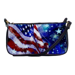 American Flag Red White Blue Fireworks Stars Independence Day Shoulder Clutch Bags by Onesevenart
