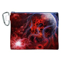 Art Space Abstract Red Line Canvas Cosmetic Bag (xxl) by Onesevenart
