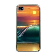 Art Sunset Beach Sea Waves Apple Iphone 4 Case (clear) by Onesevenart