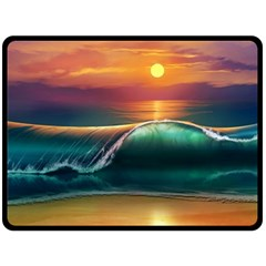 Art Sunset Beach Sea Waves Double Sided Fleece Blanket (large)  by Onesevenart