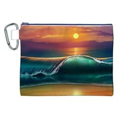 Art Sunset Beach Sea Waves Canvas Cosmetic Bag (xxl) by Onesevenart