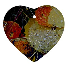 Autumn Rain Yellow Leaves Heart Ornament (two Sides) by Onesevenart