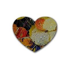 Autumn Rain Yellow Leaves Heart Coaster (4 Pack)  by Onesevenart