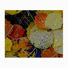 Autumn Rain Yellow Leaves Small Glasses Cloth (2 Side) by Onesevenart