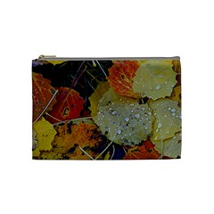 Autumn Rain Yellow Leaves Cosmetic Bag (medium)  by Onesevenart