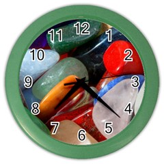 Beautiful Stones In Different Colors Colorful Color Wall Clocks by Onesevenart