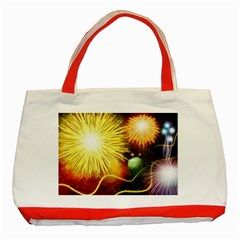 Celebration Colorful Fireworks Beautiful Classic Tote Bag (red) by Onesevenart