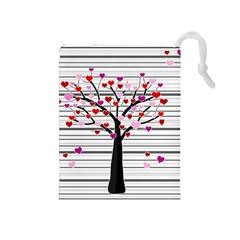 Love Tree Drawstring Pouches (medium)  by Valentinaart