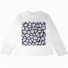 SKN1 BK-WH MARBLE Kids Long Sleeve T-Shirts by trendistuff