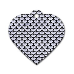 Scales3 Black Marble & White Marble (r) Dog Tag Heart (one Side) by trendistuff